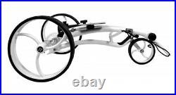 ANGEBOT! Aluminium Quickfold Lithium Elektro Golftrolley Weiß. Made for Tour
