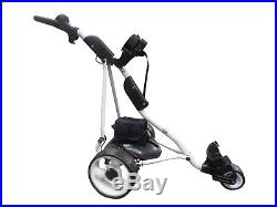 Electric Powered Golf Trolley with Battery, 18 Hole Basic Lithium WHITE