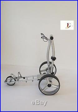 Elektro Golftrolley mit Lithium-Batterie Birdie brake silbern