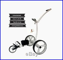 Elektro Golftrolley mit Lithium-Batterie Drive brake silbern Aluminium