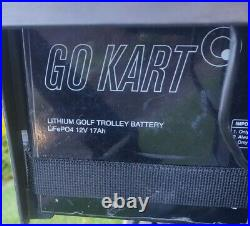 GoKart electric golf trolley automatic with lithium battery, bag & brolly holder