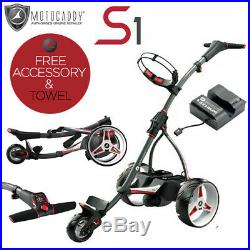 Motocaddy'2019' S1 Lithium Electric Golf Trolley + Free Gift + Free Towel