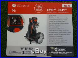 Motocaddy M1 small compact folding electric golf trolley lithium battery charger