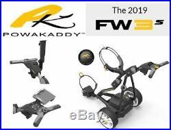 NEW 2019 POWAKADDY FW3s ELECTRIC GOLF TROLLEY BLACK + 1 FREE ACCESSORIES