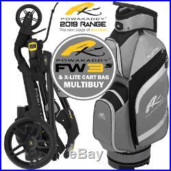 POWAKADDY 2019 FW3s LITHIUM GOLF TROLLEY +GUNMETAL X-LITE GOLF BAG MULTIBUY
