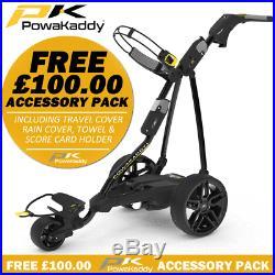 POWAKADDY FW5s BLACK LTD EDITION ELECTRIC GOLF TROLLEY +FREE £100 ACCESSORY PACK