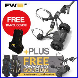 PowaKaddy FW5s Electric Golf Trolley 2018 Gun Metal +FREE! CART BAG & COVER