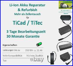 Refurbishing & Zellentausch für Golf Trolley Li-Ion Akku Packs von TiCad TiTec